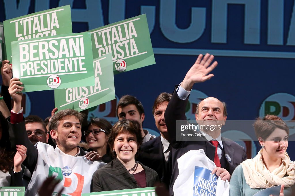 Democratic Party (PD) secretary and centre-left candidate for prime minister Pier Luigi Bersani attends the PD final campaign rally at the Ambra Jovinelli theatre on February 22, 2013 in Rome, Italy. Italy goes to the polls this weekend amid economic fears and social dissatisfaction.