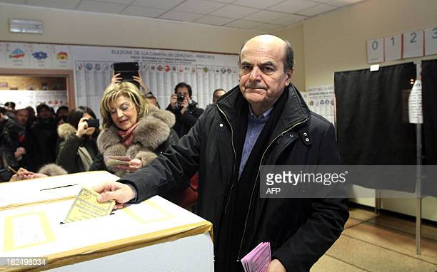 Democratic Party's Pier Luigi Bersani the favourite to become Italy's prime minister after the general election casts his ballot in a polling station...