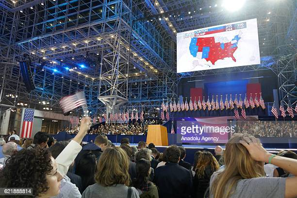 Democratic Party's presidential nominee Hillary Clinton's supporters show their sorrow as the results indicate the Republican Party's presidential...