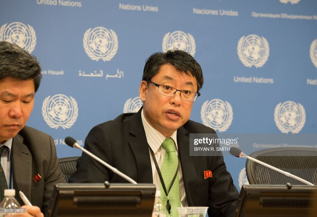 Democratic People's Republic of Korea Ambassador Kim In Ryong speaks at a press briefing at the United Nations March 13, 2017 in New York. / AFP PHOTO / Bryan R. Smith