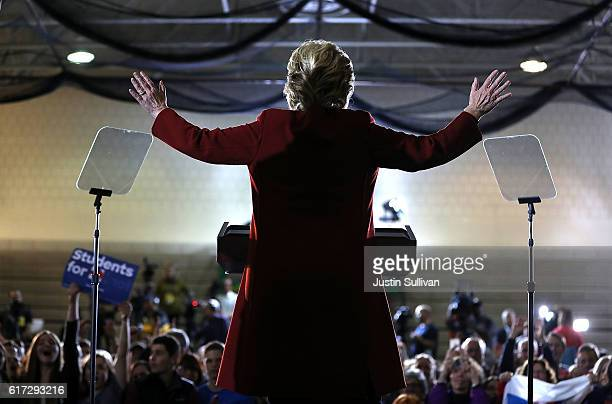 Democratic preisdential nominee former Secretary of State Hillary Clinton speaks during a campaign rally at Taylor Allderdice High School on October...