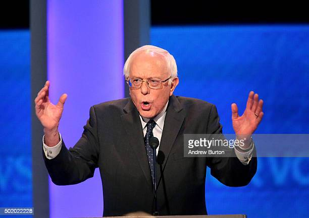 Democratic president candidate Bernie Sanders speaks at the debate at Saint Anselm College December 19 2015 in Manchester New Hampshire This is the...