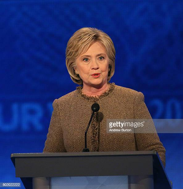 Democratic president candidate Hillary Clinton speaks at the debate at Saint Anselm College December 19 2015 in Manchester New Hampshire This is the...