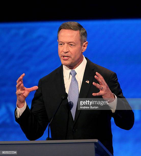Democratic president candidate Martin O'Malley speaks at the debate at Saint Anselm College December 19 2015 in Manchester New Hampshire This is the...