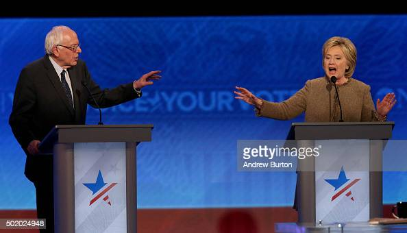 Democratic president candidates Bernie Sanders and Hillary Clinton debate at Saint Anselm College December 19 2015 in Manchester New Hampshire This...