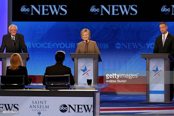 Democratic president candidates Bernie Sanders Hillary Clinton and Martin O'Malley debate at Saint Anselm College December 19 2015 in Manchester New...