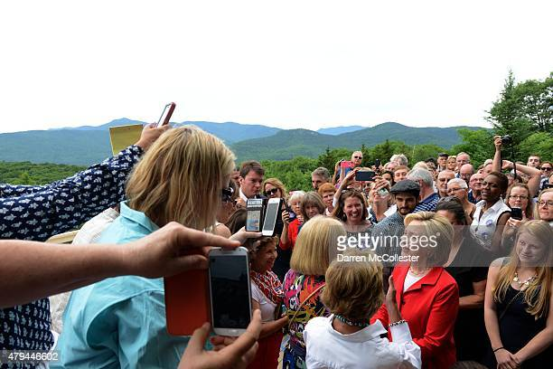 Democratic presidental candidate Hillary Clinton speaks at an organizing event at a private home July 4 2015 in Glen New Hampshire Clinton is on a...