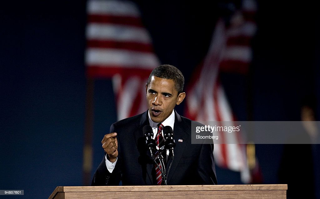 Democratic presidentelect Barack Obama delivers his acceptance speech to supporters during an election night rally in Grant Park in Chicago Illinois...