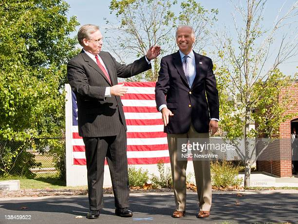 NBC NEWS Democratic Presidential Campaign Pictured Missouri Attorney General Jay Nixon and Senator and Presidential nominee Joe Biden walk out to the...