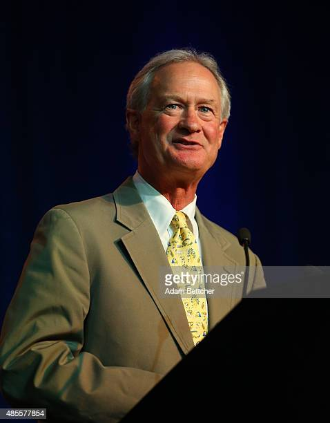 Democratic Presidential candidate and former governor of Rhode Island Lincoln Chafee speaks at the Democratic National Committee summer meeting on...