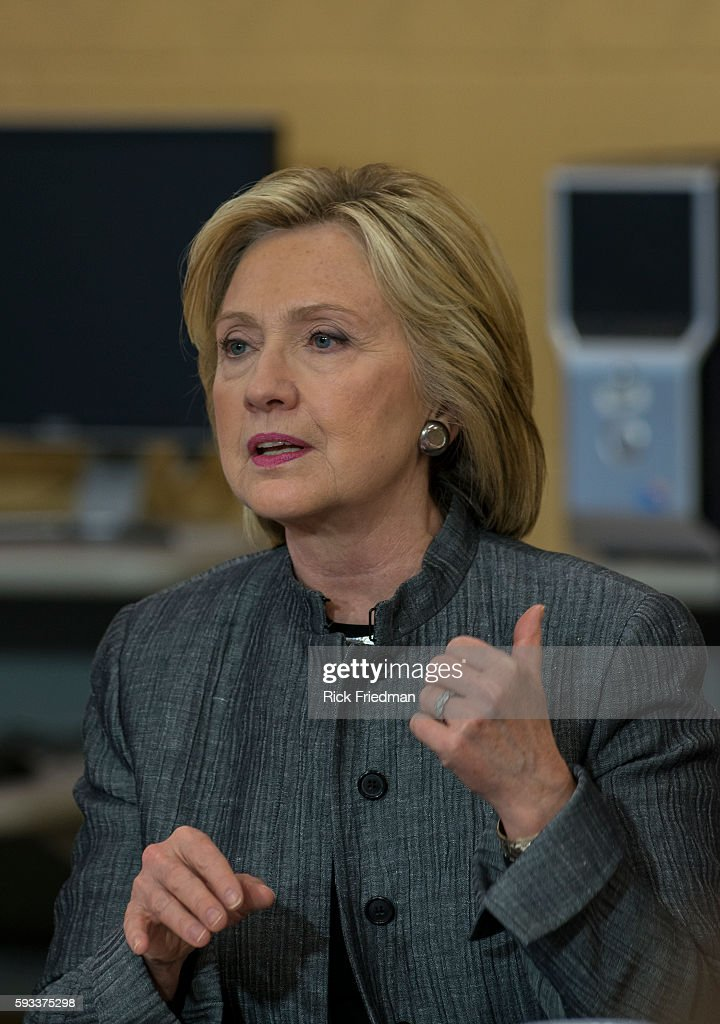 Democratic presidential candidate and former Secretary of State and senator Hillary Rodham Clinton speaking at a round table discussion at New...