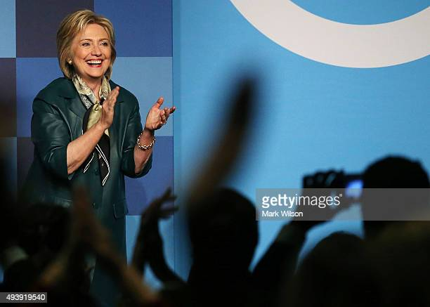 Democratic Presidential candidate and former Secretary of State Hillary Clinton greets guests after speaking at the Democratic National Committee's...