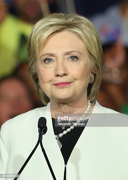 Democratic presidential candidate and former Secretary of State Hillary Clinton speaks during her Super Tuesday evening gathering at Stage One at Ice...