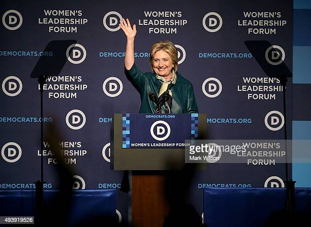 Democratic Presidential candidate and former Secretary of State Hillary Clinton waves to guests after speaking at the Democratic National Committee's...