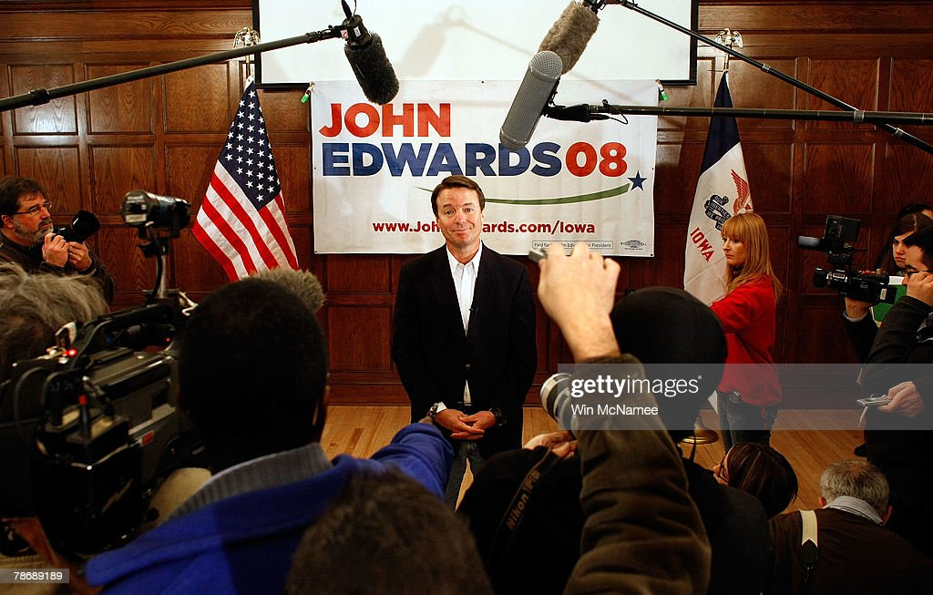 Democratic presidential candidate and former Sen. John Edwards (D-NC) answers questions during a New Year's Day press conference at Iowa State University January 1, 2008 in Ames, Iowa. Edwards, Sen. Hillary Clinton and Sen. Barack Obama are locked in a very tight race to win the Iowa Caucus.