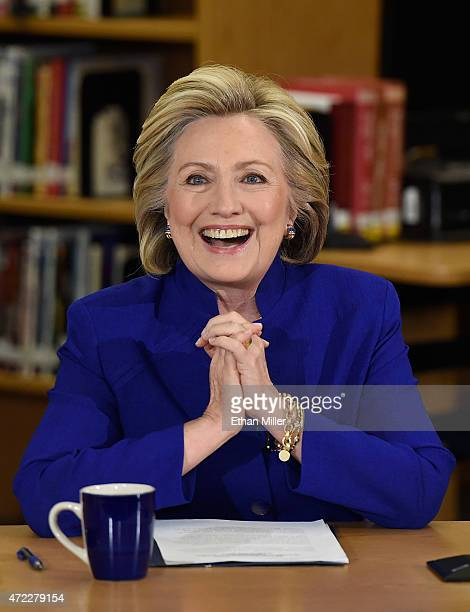 Democratic presidential candidate and former US Secretary of State Hillary Clinton smiles as she speaks at Rancho High School on May 5 2015 in Las...