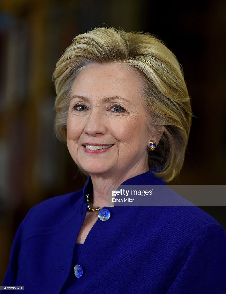 Democratic presidential candidate and former U.S. Secretary of State <a gi-track='captionPersonalityLinkClicked' href=/galleries/search?phrase=Hillary+Clinton&family=editorial&specificpeople=76480 ng-click='$event.stopPropagation()'>Hillary Clinton</a> smiles as she speaks at Rancho High School on May 5, 2015 in Las Vegas, Nevada. Clinton said that any immigration reform would need to include a path to 'full and equal citizenship.'