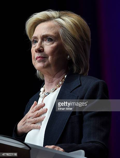 Democratic presidential candidate and former US Secretary of State Hillary Clinton speaks at the National Association of Latino Elected and Appointed...