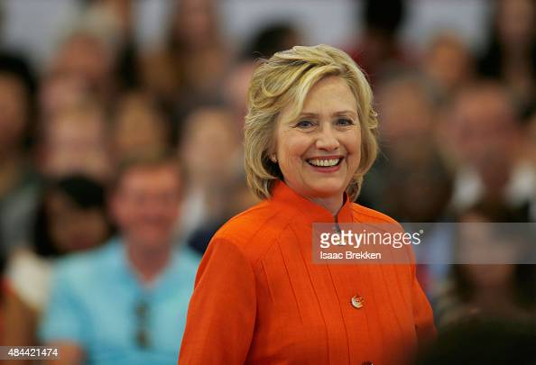Democratic presidential candidate and former US Secretary of State Hillary Clinton delivers remarks during a campaign stop at Dr William U Pearson...