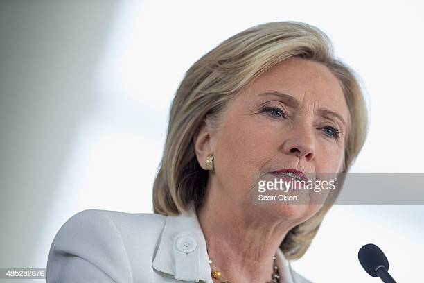 Democratic presidential candidate and former US Secretary of State Hillary Clinton speaks to guests gathered for a campaign event on the campus of...
