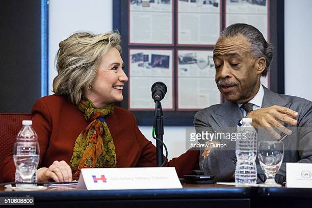 Democratic presidential candidate and former US Secretary of State Hillary Clinton meets with Rev Al Sharpton and other civil rights leaders at The...