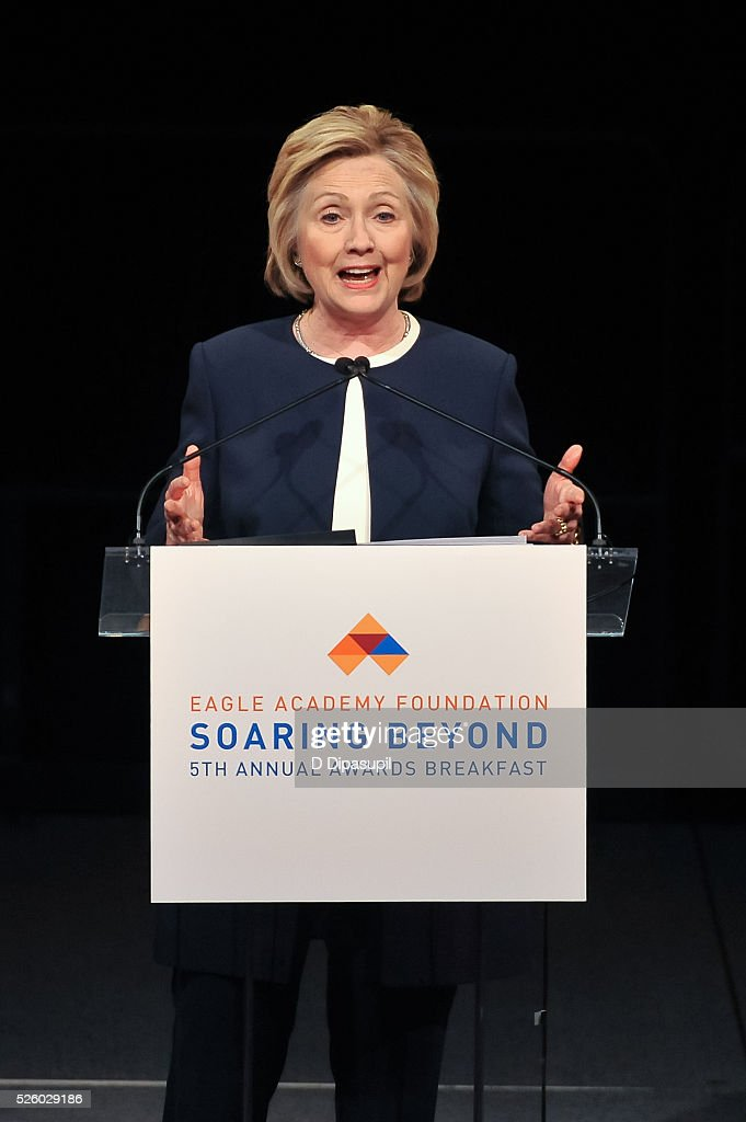 Democratic presidential candidate and former U.S. Secretary of State <a gi-track='captionPersonalityLinkClicked' href=/galleries/search?phrase=Hillary+Clinton&family=editorial&specificpeople=76480 ng-click='$event.stopPropagation()'>Hillary Clinton</a> speaks onstage during the 2016 Eagle Academy Foundation Fundraising Breakfast at Gotham Hall on April 29, 2016 in New York City.