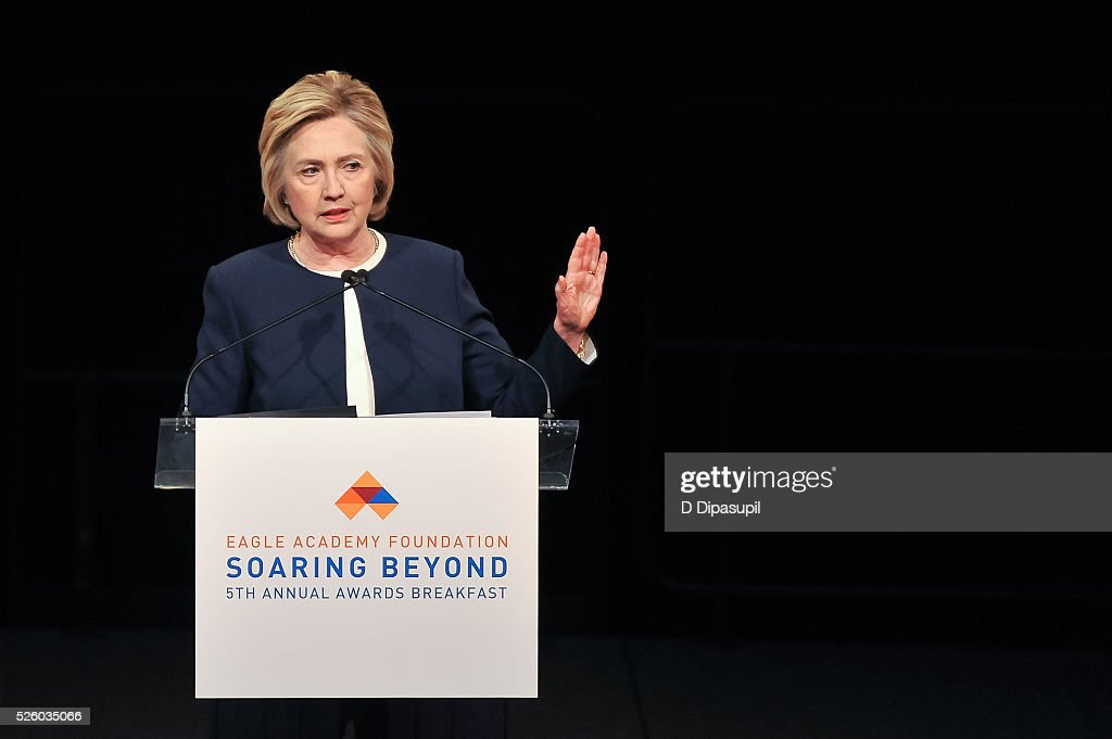 Democratic presidential candidate and former U.S. Secretary of State Hillary Clinton speaks onstage during the 2016 Eagle Academy Foundation Fundraising Breakfast at Gotham Hall on April 29, 2016 in New York City.