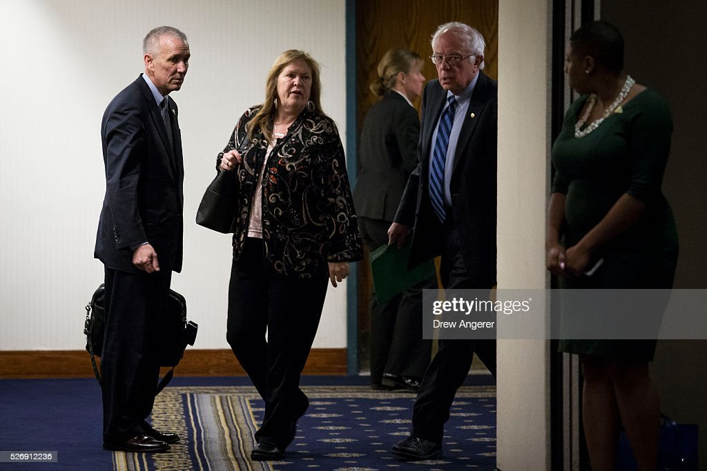 Democratic presidential candidate and U.S. Sen. Bernie Sanders (D-VT) and wife Jane Sanders arrive for a news conference at the National Press Club, May 1, 2016, in Washington, DC. Sanders' April fundraising numbers, which were released on Sunday, show he raised $25.8 million, down 40 percent from the previous month.