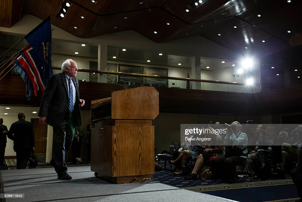 Democratic presidential candidate and U.S. Sen. <a gi-track='captionPersonalityLinkClicked' href=/galleries/search?phrase=Bernie+Sanders&family=editorial&specificpeople=2908340 ng-click='$event.stopPropagation()'>Bernie Sanders</a> (D-VT) arrives to speak at the National Press Club, May 1, 2016, in Washington, DC. Sanders' April fundraising numbers, which were released on Sunday, show he raised $25.8 million, down 40 percent from the previous month.