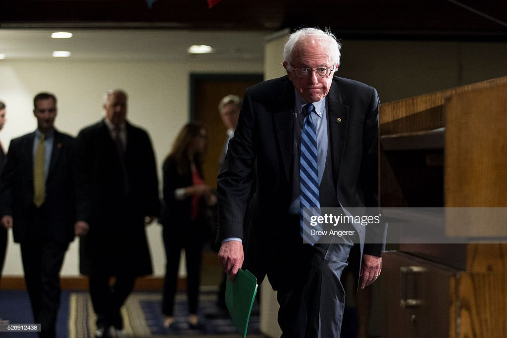 Democratic presidential candidate and U.S. Sen. <a gi-track='captionPersonalityLinkClicked' href=/galleries/search?phrase=Bernie+Sanders&family=editorial&specificpeople=2908340 ng-click='$event.stopPropagation()'>Bernie Sanders</a> (D-VT) arrives for a news conference at the National Press Club, May 1, 2016, in Washington, DC. Sanders' April fundraising numbers, which were released on Sunday, show he raised $25.8 million, down 40 percent from the previous month.