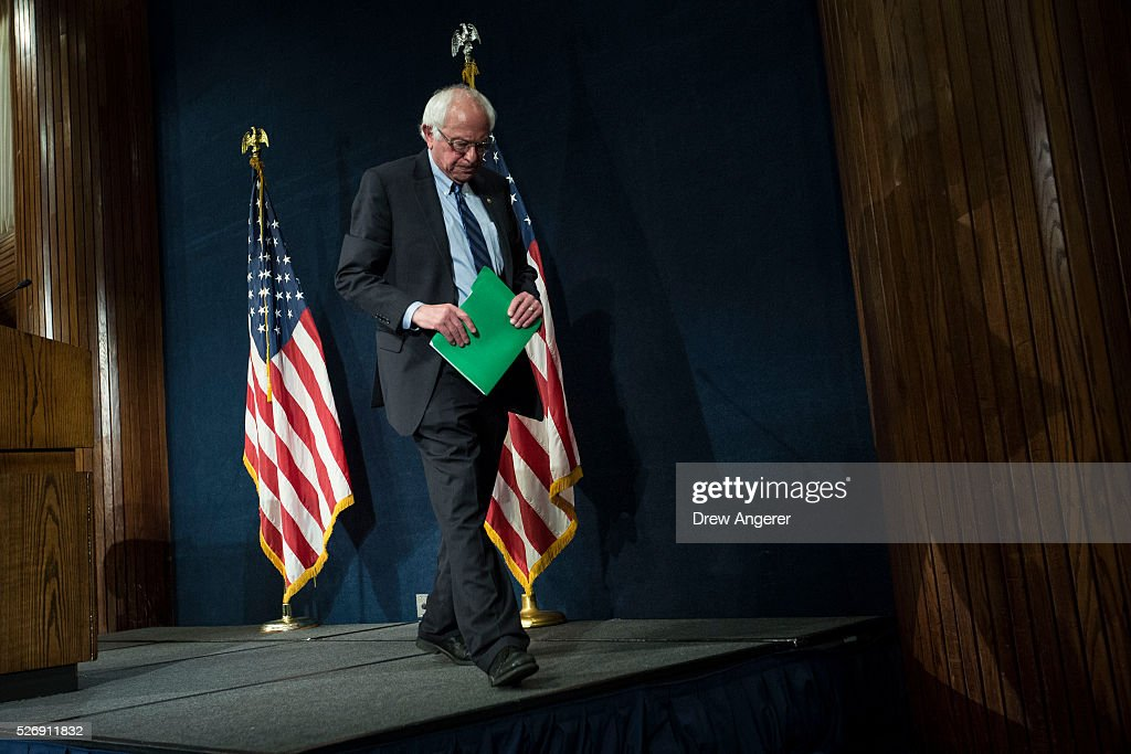 Democratic presidential candidate and U.S. Sen. <a gi-track='captionPersonalityLinkClicked' href=/galleries/search?phrase=Bernie+Sanders&family=editorial&specificpeople=2908340 ng-click='$event.stopPropagation()'>Bernie Sanders</a> (D-VT) exits the stage after a news conference at the National Press Club, May 1, 2016, in Washington, DC. Sanders' April fundraising numbers, which were released on Sunday, show he raised $25.8 million, down 40 percent from the previous month.