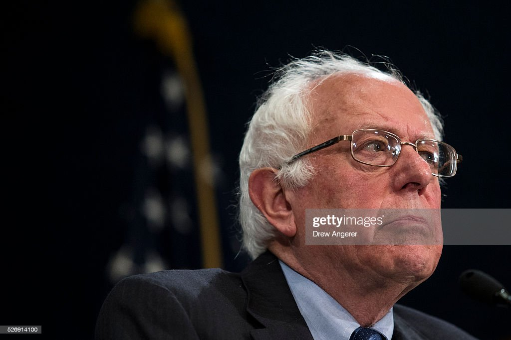 Democratic presidential candidate and U.S. Sen. <a gi-track='captionPersonalityLinkClicked' href=/galleries/search?phrase=Bernie+Sanders&family=editorial&specificpeople=2908340 ng-click='$event.stopPropagation()'>Bernie Sanders</a> (D-VT) pauses while speaking during a news conference at the National Press Club, May 1, 2016, in Washington, DC. Sanders' April fundraising numbers, which were released on Sunday, show he raised $25.8 million, down 40 percent from the previous month.