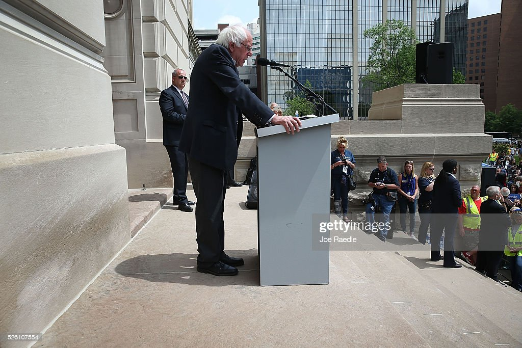 Democratic presidential candidate and U.S. Sen. <a gi-track='captionPersonalityLinkClicked' href=/galleries/search?phrase=Bernie+Sanders&family=editorial&specificpeople=2908340 ng-click='$event.stopPropagation()'>Bernie Sanders</a> (D-VT) speaks during a rally at the Indiana state Capitol on April 29, 2016 in Indianapolis, Indiana. Sanders addressed the rally of mostly union workers and their supporters who were protesting the Carrier Corp. plans to cut 1,400 manufacturing jobs in Indianapolis and move 2,100 jobs to Mexico.