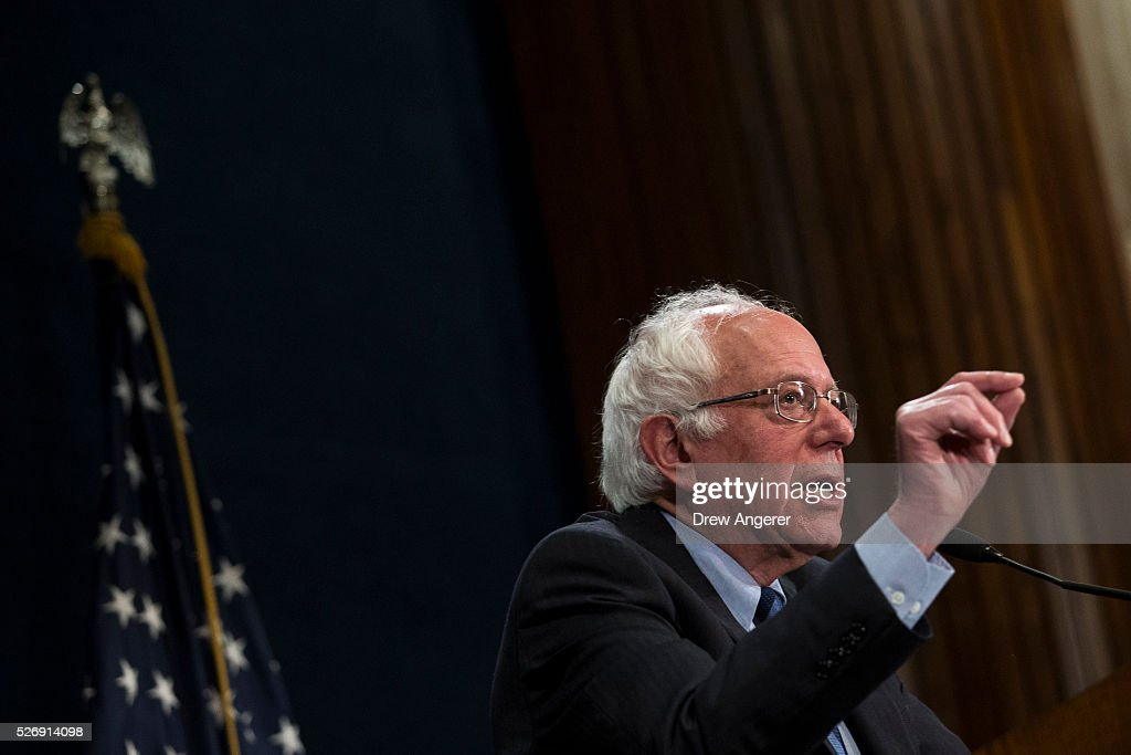 Democratic presidential candidate and U.S. Sen. <a gi-track='captionPersonalityLinkClicked' href=/galleries/search?phrase=Bernie+Sanders&family=editorial&specificpeople=2908340 ng-click='$event.stopPropagation()'>Bernie Sanders</a> (D-VT) speaks during a news conference at the National Press Club, May 1, 2016, in Washington, DC. Sanders' April fundraising numbers, which were released on Sunday, show he raised $25.8 million, down 40 percent from the previous month.