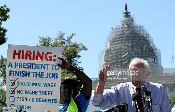 Democratic presidential candidate and US Sen Bernie Sanders speaks at a Capitol Hill rally to introduce legislation to raise the federal minimum wage...
