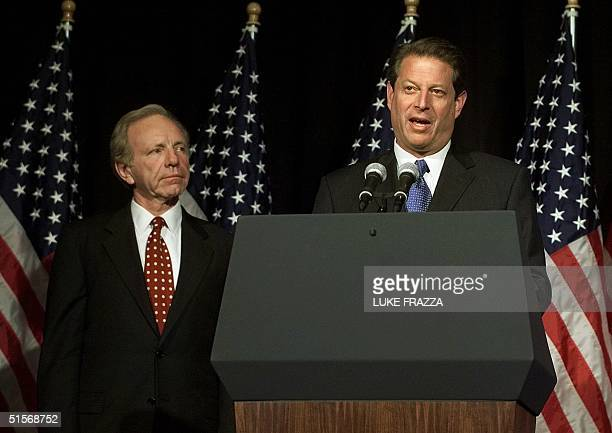 Democratic presidential candidate and US Vice President Al Gore talks to reporters about the presidential election results as his running mate US...