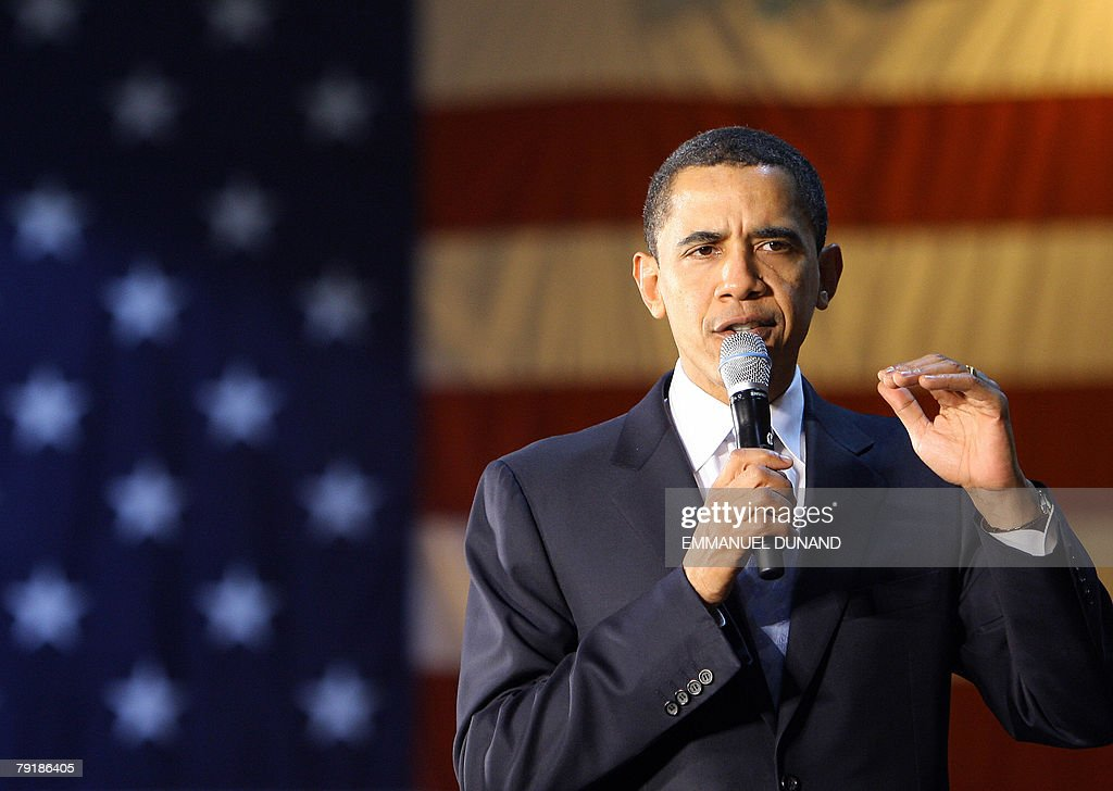 US Democratic presidential candidate Barack Obama addresses supporters during a rally at Dillon High School in Dillon, South Carolina, 23 January 2008. Obama is on the campaign trail ahead of the South Carolina primary vote scheduled for 26 January. AFP PHOTO/Emmanuel DUNAND