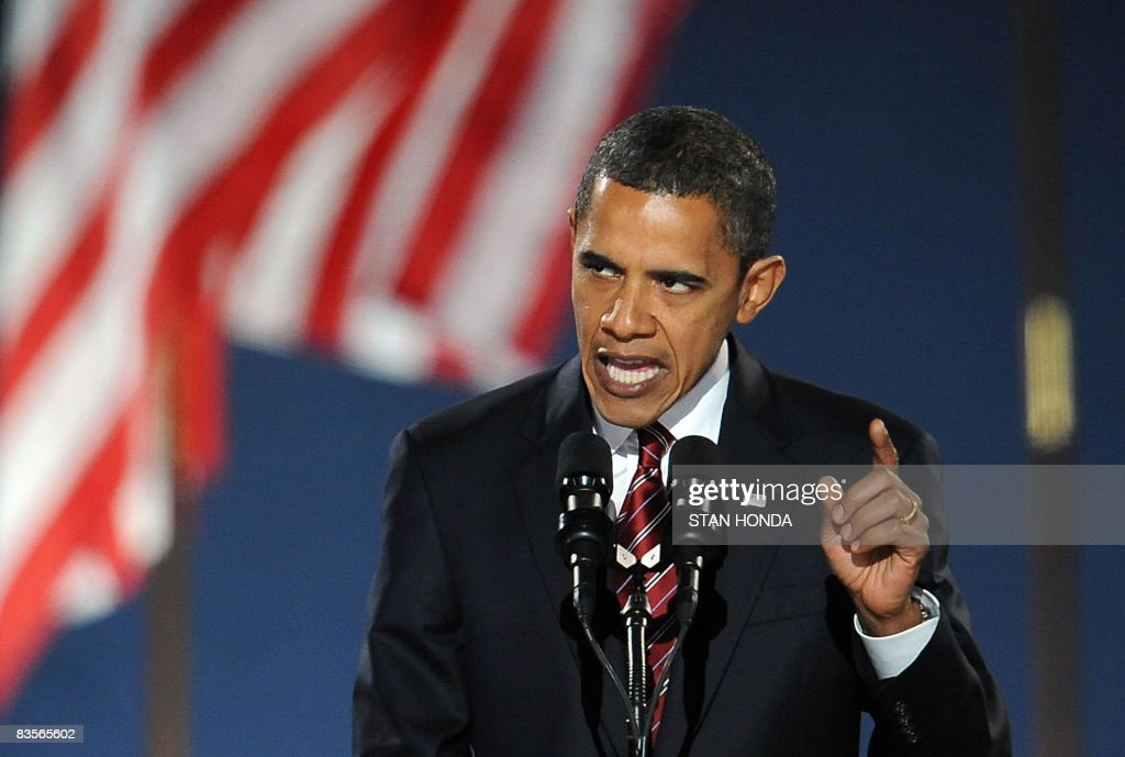Democratic presidential candidate Barack Obama addresses supporters during his election night victory rally at Grant Park on November 4, 2008 in Chicago, Illinois. Americans emphatically elected Obama as their first black president in a transformational election which will reshape US politics and the US role on the world stage. AFP PHOTO / Stan HONDA