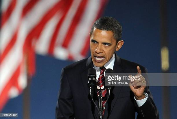 Democratic presidential candidate Barack Obama addresses supporters during his election night victory rally at Grant Park on November 4 2008 in...
