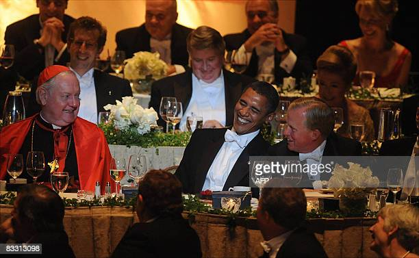 Democratic presidential candidate Barack Obama attends the annual Al Smith Dinner at the Waldorf Astoria on October 16 2008 in New York City AFP...