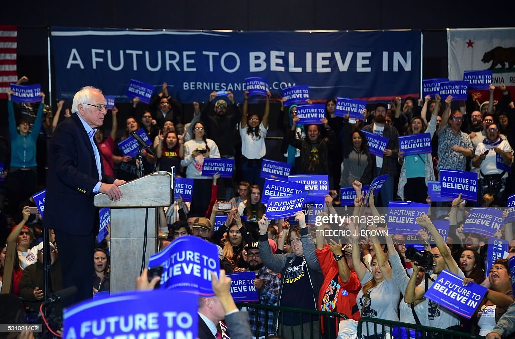 Democratic presidential candidate Bernie Sanders addresses a campaign rally at the Riverside Municipal Auditorium on May 24, 2016 in Riverside, California. US presidential candidates have turned their attention to campaigning in earnest for the June 7th California primary election. / AFP / FREDERIC