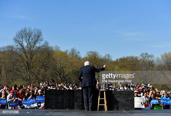 Democratic presidential candidate Bernie Sanders addresses his supporters during a campaign rally at Prospect Park on April 17 2016 in Brooklyn NY