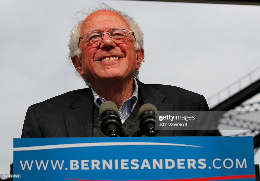 Democratic presidential candidate <a gi-track='captionPersonalityLinkClicked' href=/galleries/search?phrase=Bernie+Sanders&family=editorial&specificpeople=2908340 ng-click='$event.stopPropagation()'>Bernie Sanders</a> addresses the crowd during a campaign rally at the Big Four Lawn park May 3, 2016 in Louisville, Kentucky. Sanders is preparing for Kentucky's May 17th primary.