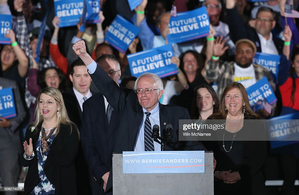 Democratic presidential candidate <a gi-track='captionPersonalityLinkClicked' href=/galleries/search?phrase=Bernie+Sanders&family=editorial&specificpeople=2908340 ng-click='$event.stopPropagation()'>Bernie Sanders</a> and his wife Jane O'Meara (R) greets supporters after winning the New Hampshire Democratic Primary February 9, 2016 in Concord, New Hampshire.