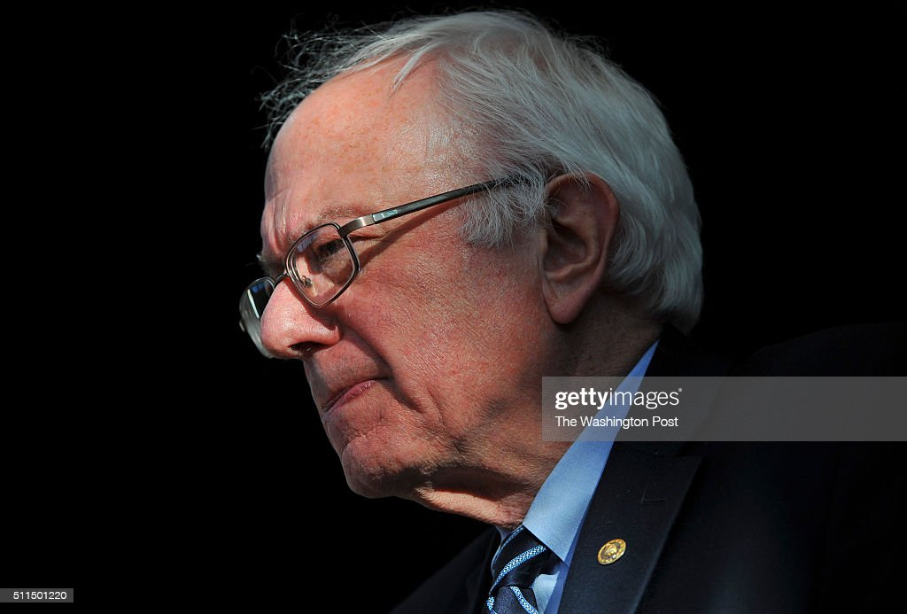 Democratic presidential candidate Bernie Sanders delivers his concession speech to a group of supporters at the Henderson Pavilion on February 20...