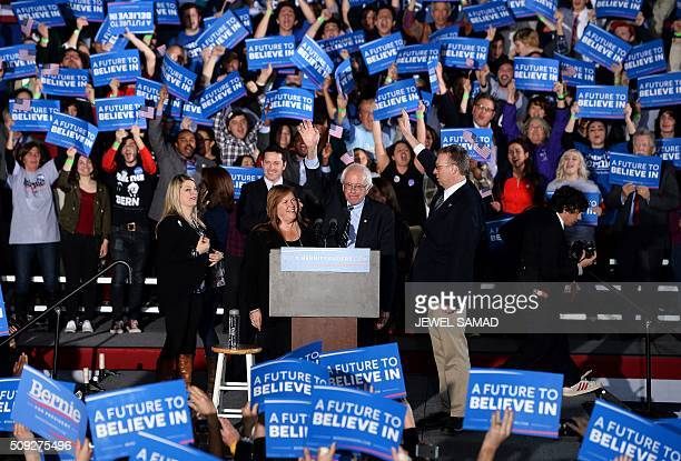 Democratic presidential candidate Bernie Sanders gestures during a primary night rally in Concord New Hampshire on February 9 2016 Political novice...