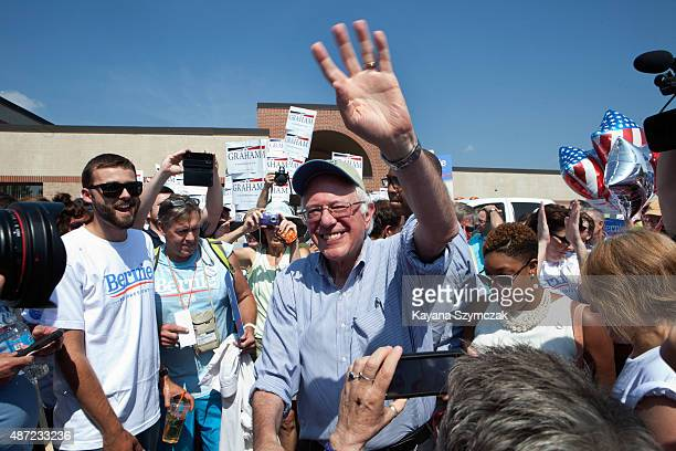 Democratic Presidential candidate Bernie Sanders greets supporters at the Labor Day Parade on September 7 in Milford New Hampshire Recent polls have...
