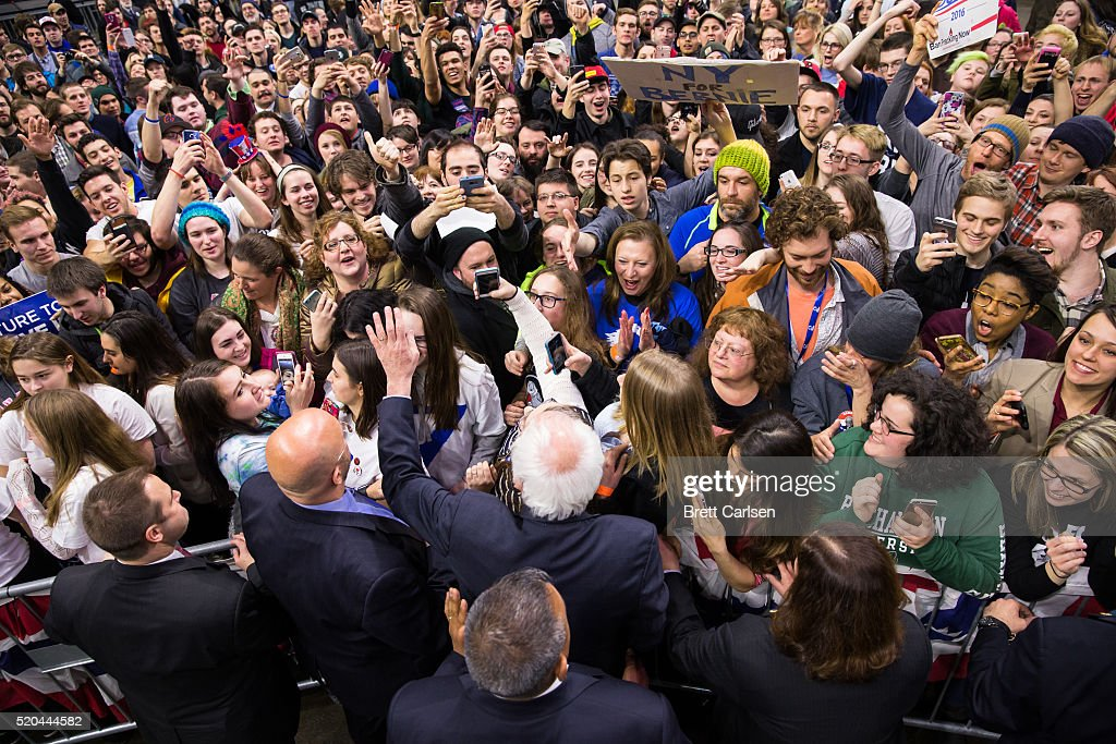Democratic presidential candidate Bernie Sanders greets supporters at the conclusion of his rally on April 11, 2016 in Binghamton, New York. The New York Democratic primary is scheduled for April 19th.