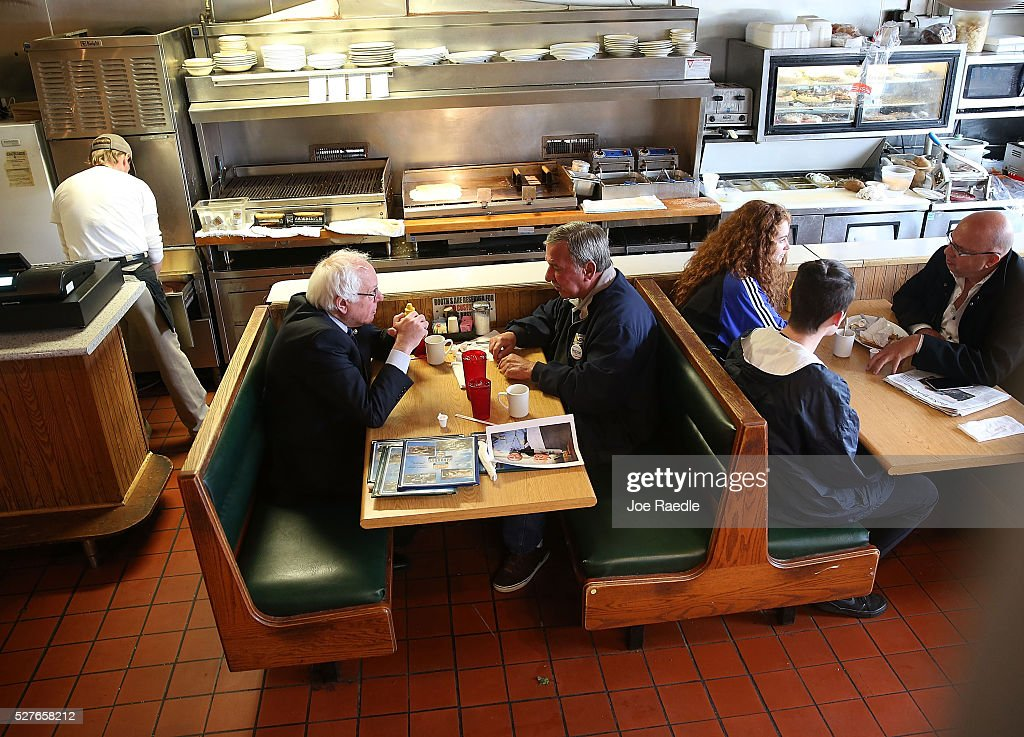 Democratic presidential candidate <a gi-track='captionPersonalityLinkClicked' href=/galleries/search?phrase=Bernie+Sanders&family=editorial&specificpeople=2908340 ng-click='$event.stopPropagation()'>Bernie Sanders</a> (D-VT) has breakfast with United Steelworkers President, Local 1999, Chuck Jones, at Peppy Grill on May 3, 2016 in Indianapolis, Indiana. Indiana voters went to the polls today as they decide who to cast their ballot for during the states primary election.