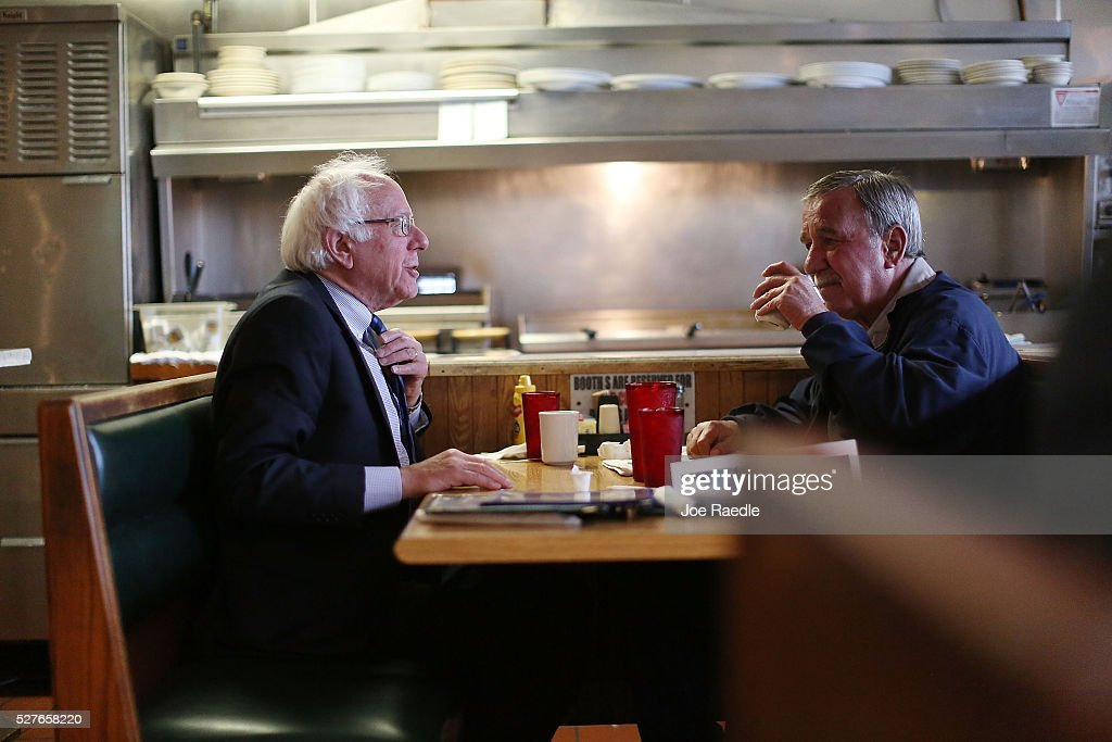 Democratic presidential candidate Bernie Sanders (D-VT) has breakfast with United Steelworkers President, Local 1999, Chuck Jones, at Peppy Grill on May 3, 2016 in Indianapolis, Indiana. Indiana voters went to the polls today as they decide who to cast their ballot for during the states primary election.